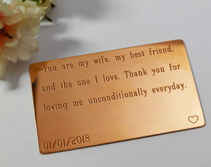 Copper Anniversary Gift Wallet Insert Card For Her 7 Year Wife Custom Engraved