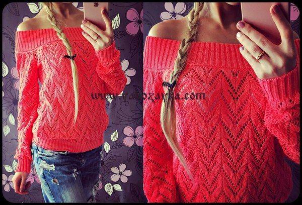 пуловер с открытыми плечами спицами схемы вязания спицами женского