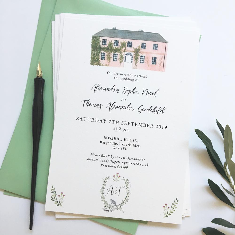 Wedding Venue Invitation wedding venue invites Drawing from photo Wedding Venue Watercolor