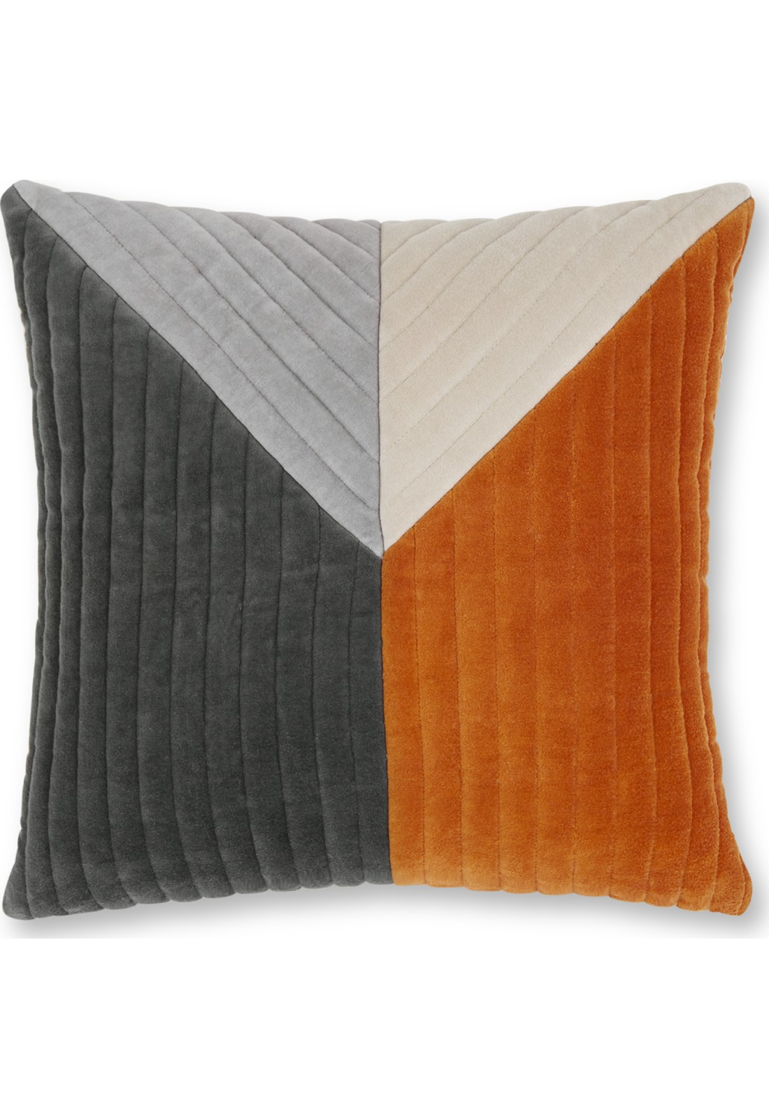 45CM CUSHION COVERS 2 X COTTON VELVET GREY GOLD ORANGE TASSELLED 18/""