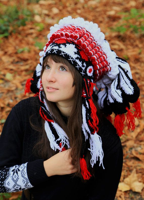 Crochet beanie, imitation authentic indian headdress, native