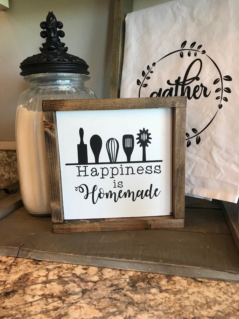 Wood Sign Happiness Is Homemade Kitchen Wood Sign Farmhouse