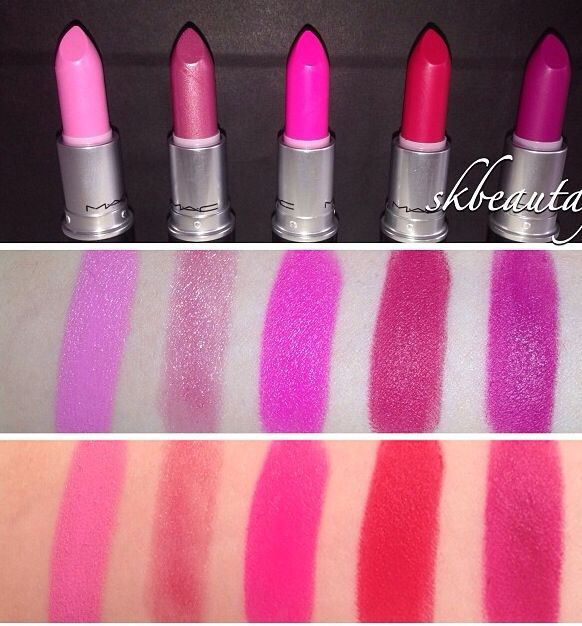 MAC lipsticks; from left to right: Saint Germain, Sweetie, Candy Yum Yum, All Fired Up, & Flat Out Fabulous. (Middle pic with flash; bottom pic without flash)
