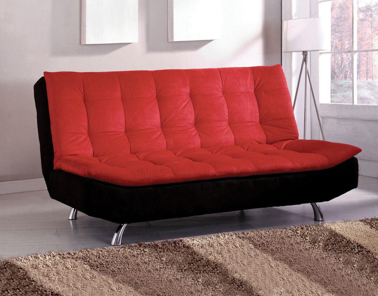 Malibu Futon Sofa Cm2574 Contemporary Style Pillow Top Converts Into Bed Chrome Legs Red Black Microfiber Seat Enjoy The Comfort Of A Built In