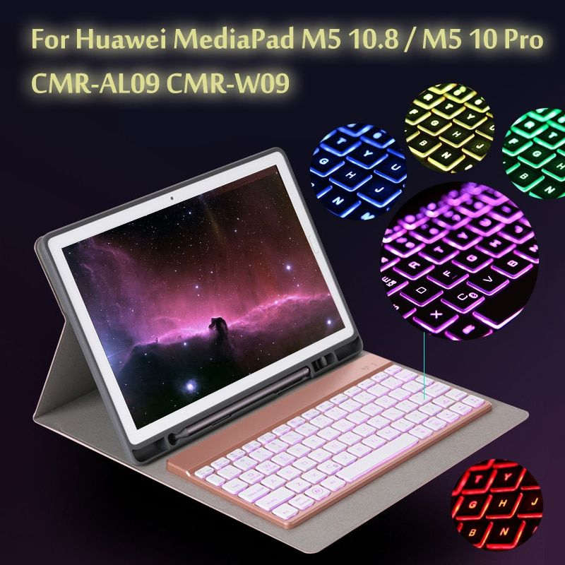 7 Colors Backlit Light Wireless Bluetooth Keyboard Case Cover For Huawei Mediapad M5 10 8 M5 10 Pro Keyboard Case Bluetooth Keyboard Case Bluetooth Keyboard