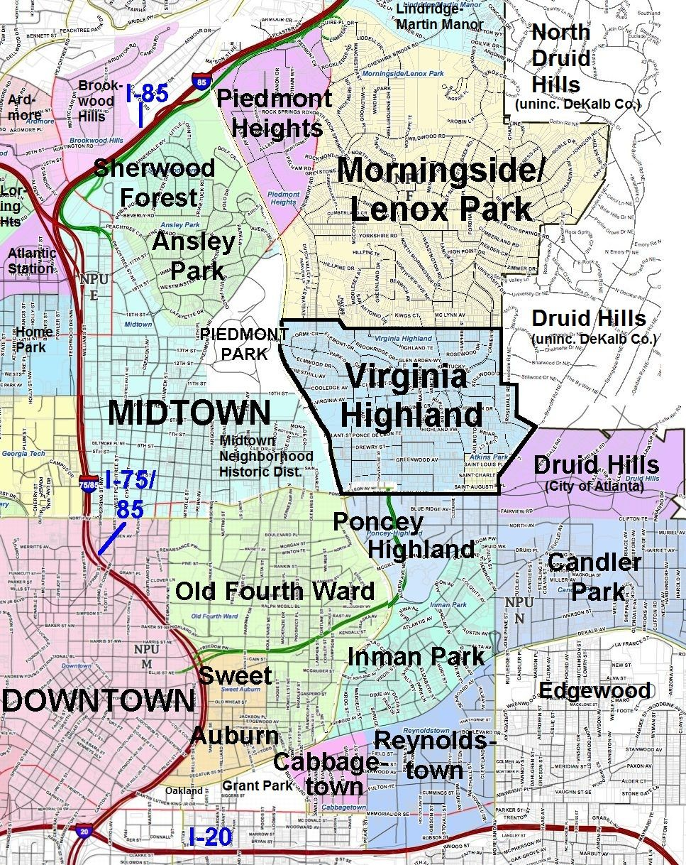 Northeast Atlanta Neighborhoods Map Intownatlanta Map