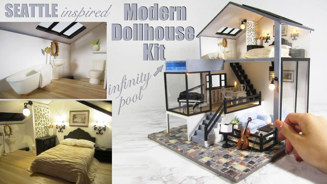 Diy Miniature Seattle Dollhouse Kit With Pool And Lights Youtube Dollhouse Kits Doll House Dollhouse Miniatures Diy
