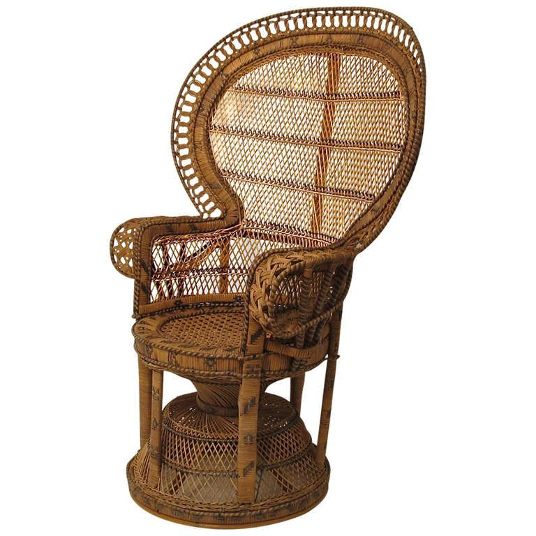 Antique wicker and rattan peacock fan chair rattan chair