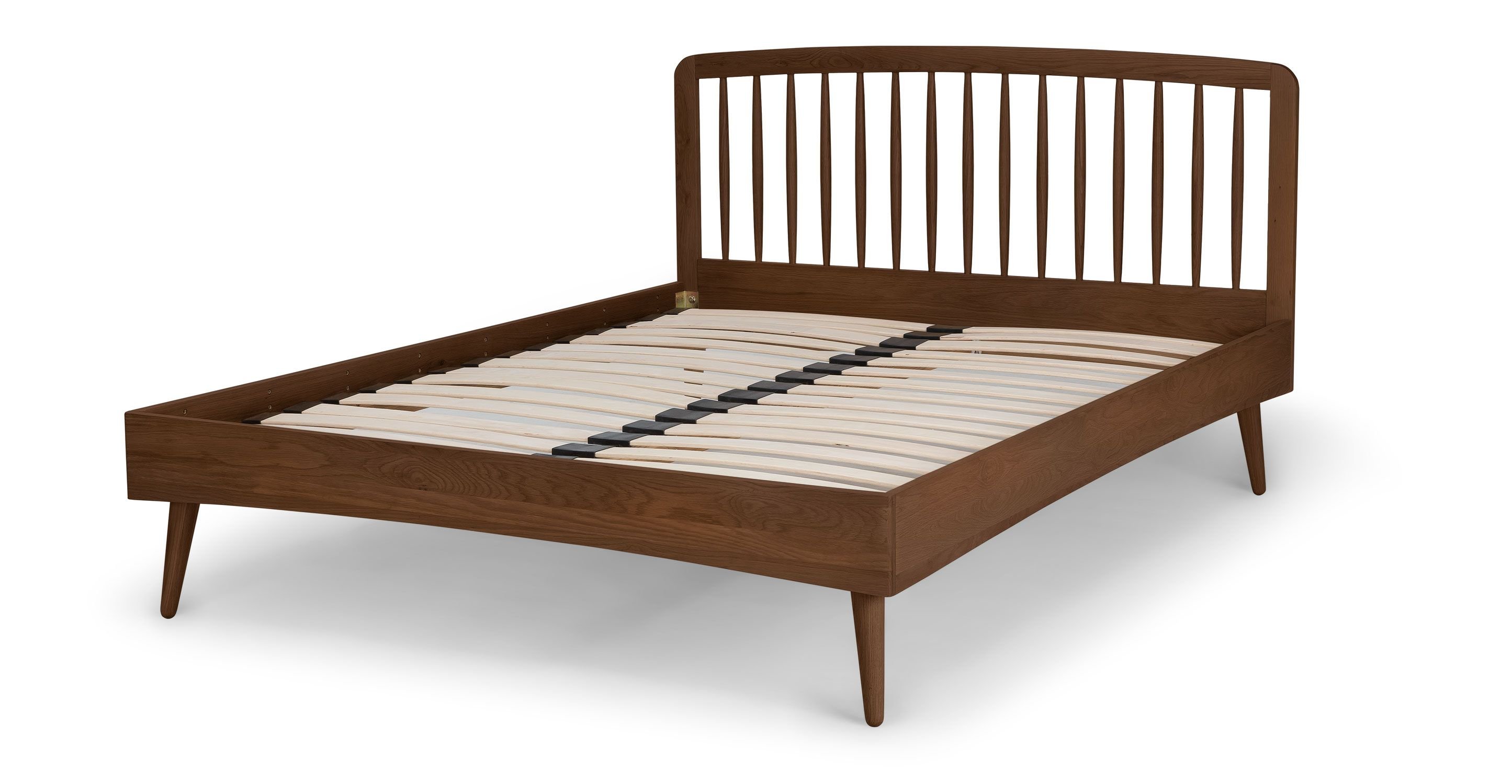 Culla Spindle Walnut Full Bed Beds Article Modern Mid Century And Scandinavian Furniture Modern Bed Frame Queen Size Bed Frames Full Bed Frame