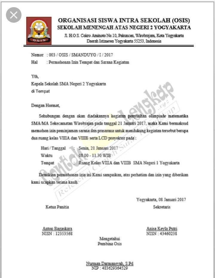 Contoh Surat Dinas Resmi Sekolah Yang Benar Surat Sekolah Pengetahuan