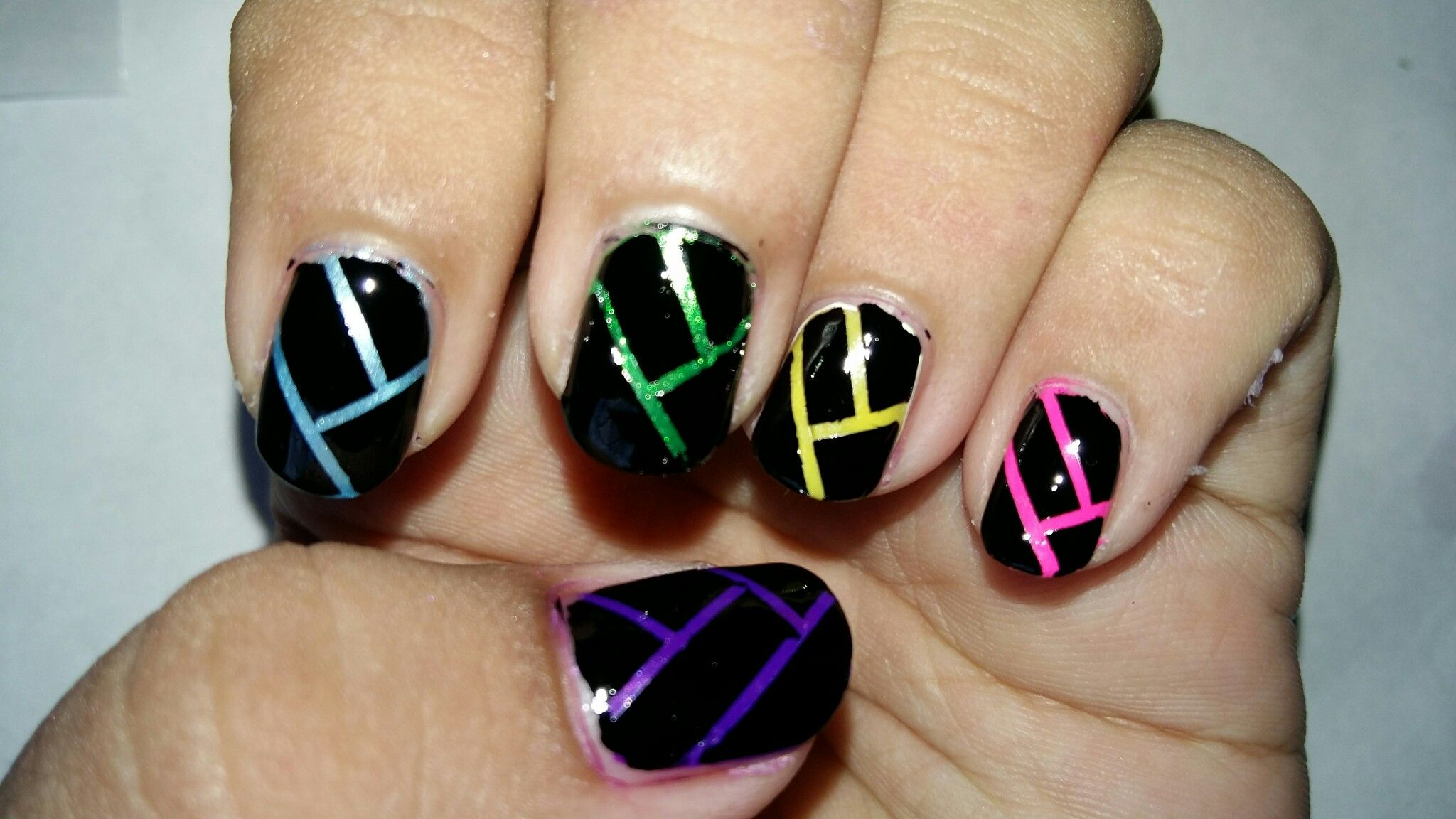 Pin by Aarya on Stuff by me | Pinterest | Tape nail art, Tape nails ...