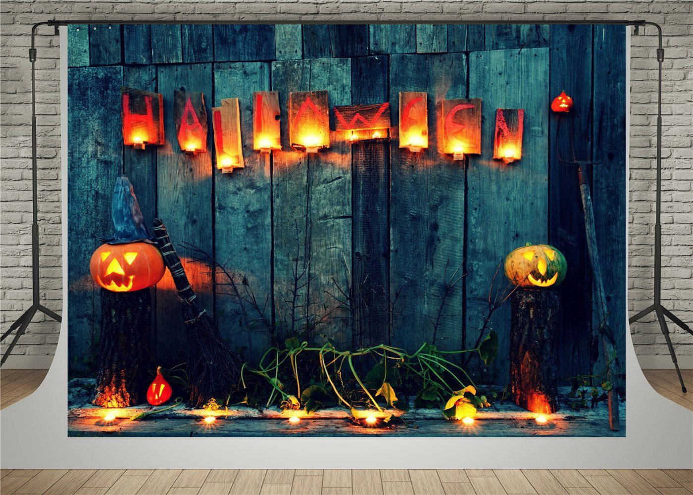 Halloween Theme Backdrop 8x6ft Polyester Photography Background Seaside Beach Handsome Pumpkin in Cowboy Hat Small Broomstick Scene Trick or Treat Party Decoration Summer Holiday Vacation Shoot