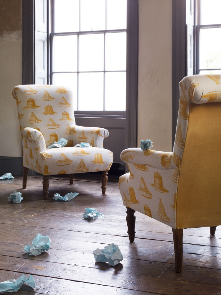 The Jethou armchair in Thornback and Peel Mustard Jellies and Cakes with back panel in Sunshine cotton matt velvet £880http://www.sofa.com/design-lab