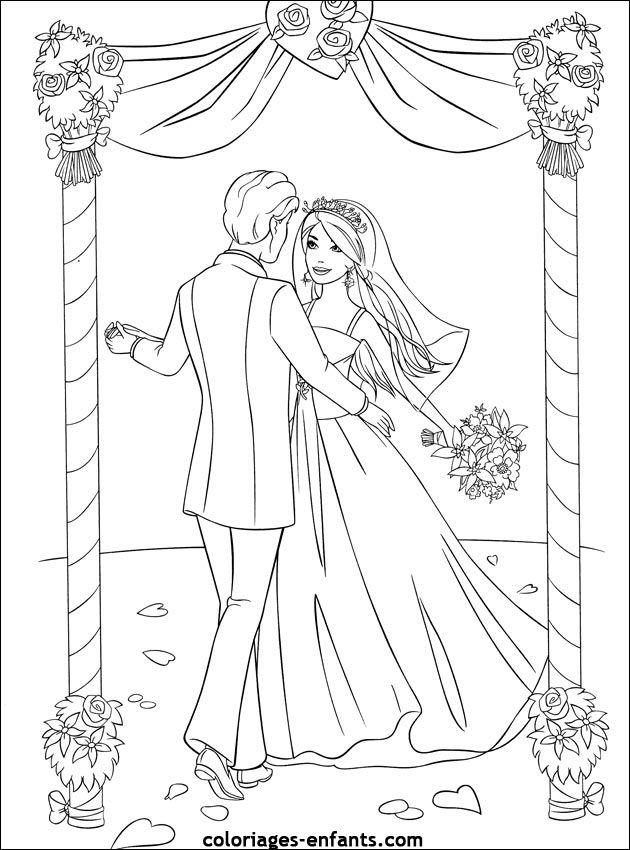 Coloriage Princesse Mariage.Coloriage De Mariage A Imprimer Sur Coloriages Enfants Com