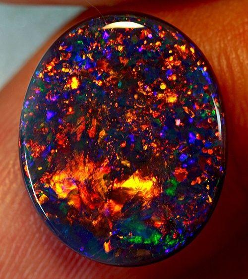 3cts Orange Red Blue Multicolor Boulder Opal Flat Back Free Shipping