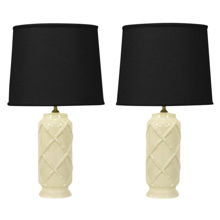 Pair Of White Table Lamps