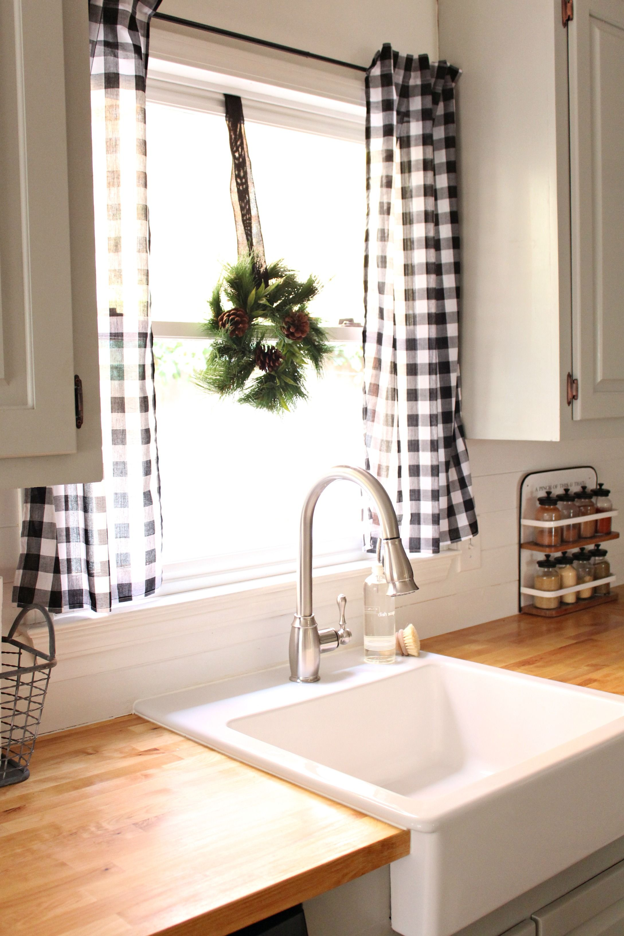 love the black and white buffalo check curtains - Kitchen Curtain
