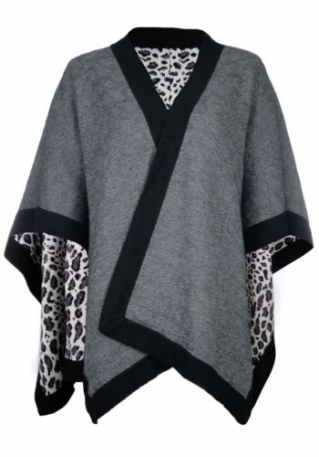 ponchos+for+petite+women   Sutton Studio Women's Leopard Poncho Wrap Petite   eBay