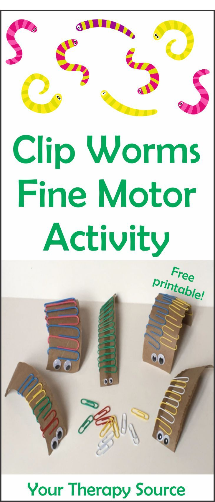 Clip Worm Fine Motor Activity Freebie
