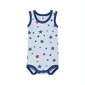 Petit Bateau US Official Online Store, Baby sleeveless cotton bodysuit with two-color star print, oxygene multico, Bodysuits/Underwear, ...