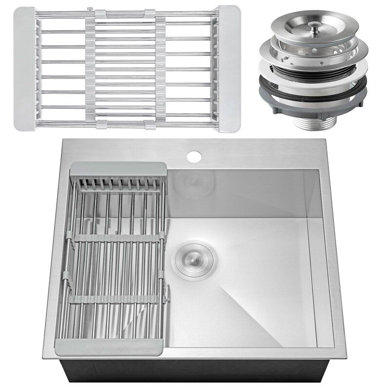 25 L X 22 W Drop In Kitchen Sink With Basket Strainer Single Bowl Kitchen Sink Top Mount Kitchen Sink Drop In Kitchen Sink