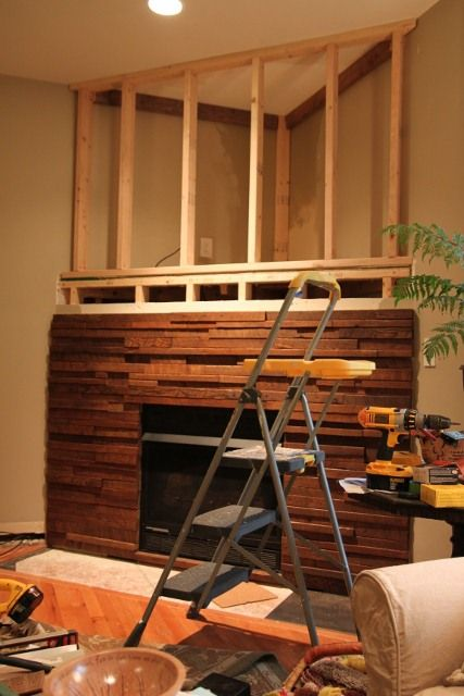 Corner Fireplace Mantels with TV Above 427 x 640