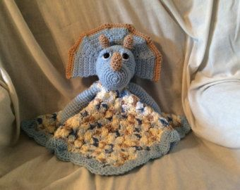 Crochet Triceratops Lovey or Security Blanket Pattern , tutorial , huggy buddy , dinosaur pattern , instant download pdf pattern