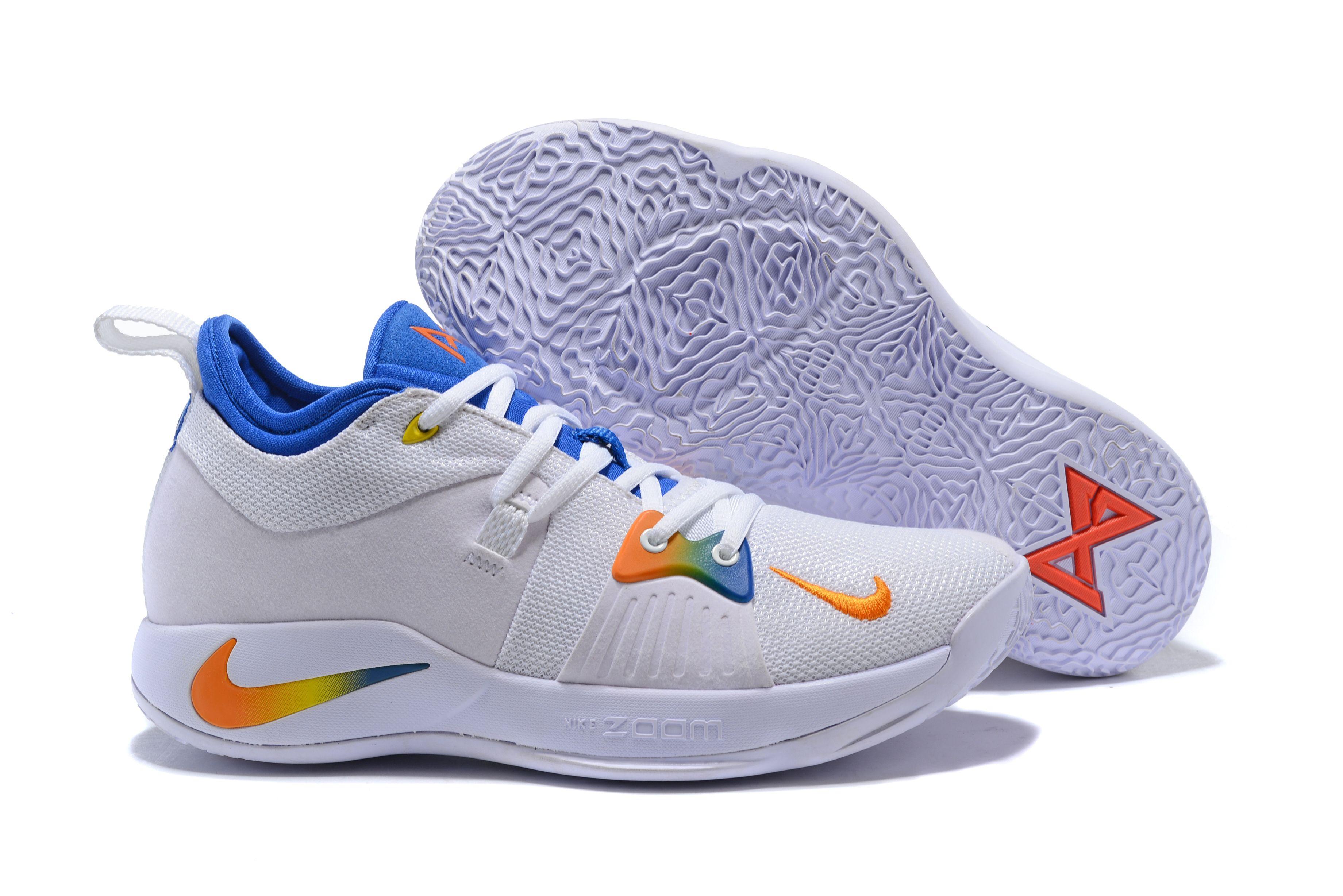 d8697ef581d9d3 Men s Nike PG 2 White Blue Orange Paul George Basketball Shoes ...