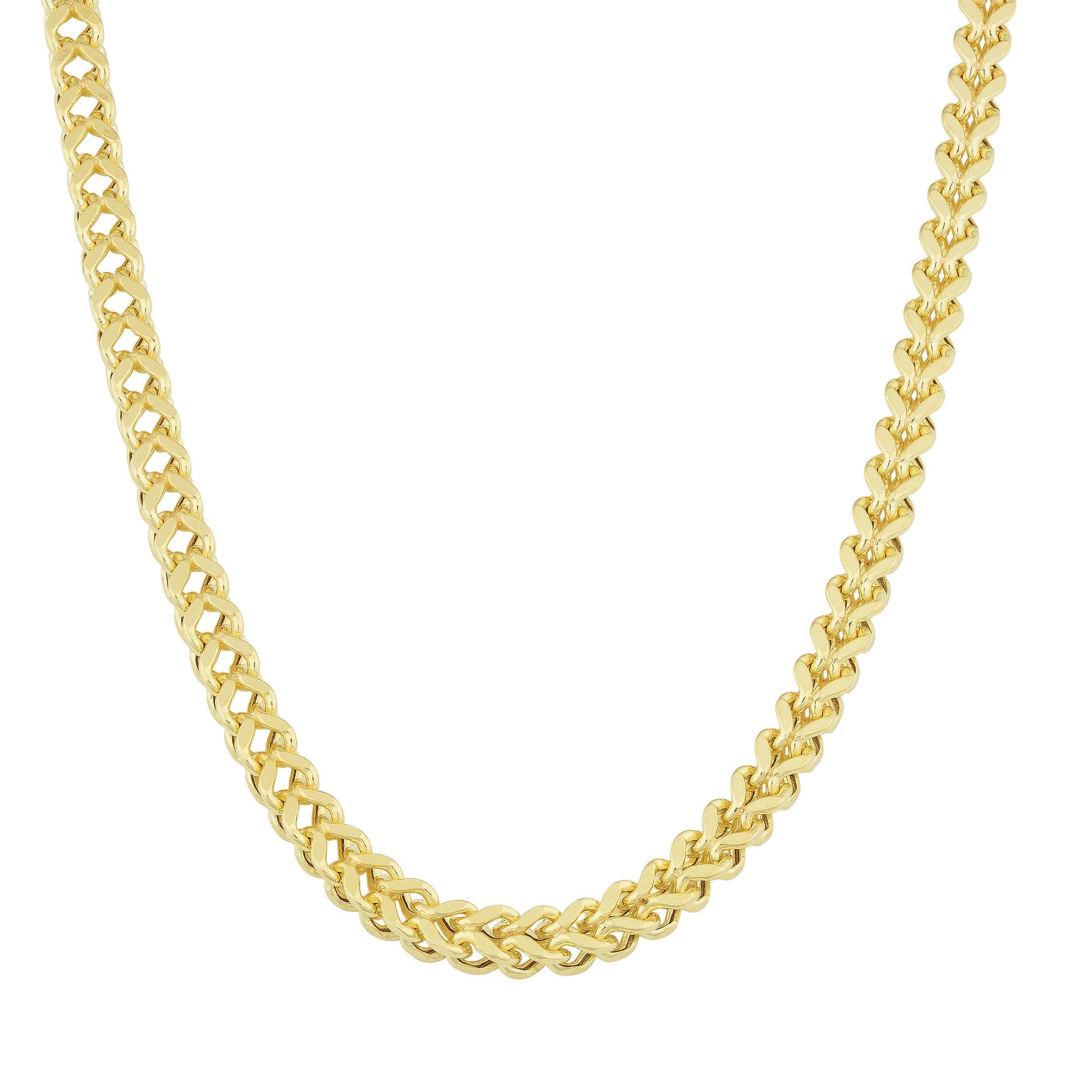 Fremada 14k Gold Bold Square Franco Necklace
