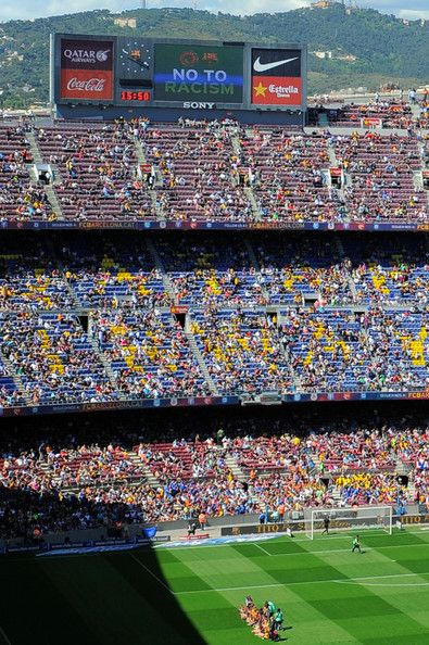 The message  No To Racism  is displayed on the scoreboard prior to the La  Liga match between FC Barcelona and Getafe CF at Nou Camp on May 3 eec56a184cb77