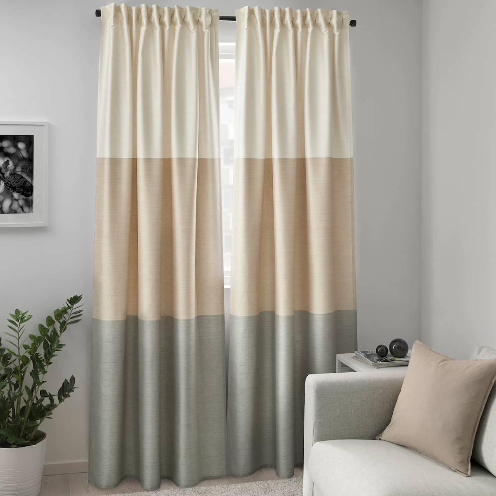 Bindvide Curtains 1 Pair Gray White Beige Ikea Beige And Grey Living Room Brown Curtains Beige And White Living Room