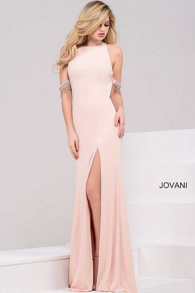 Sexy and elegant floor length form fitting blush jersey dress with ...