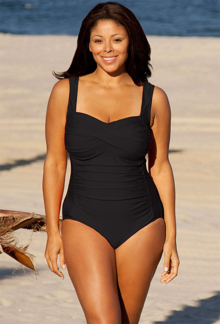 Delta Burke Black Plus Size Twist Front Swimsuit | www