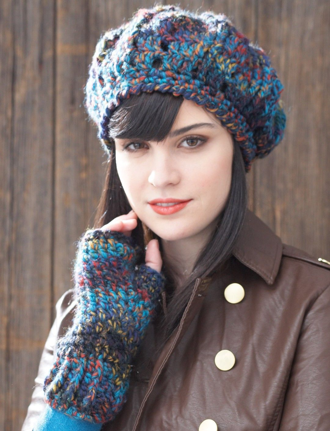 Yarnspirations.com - Patons Beret and Fingerless Gloves ...