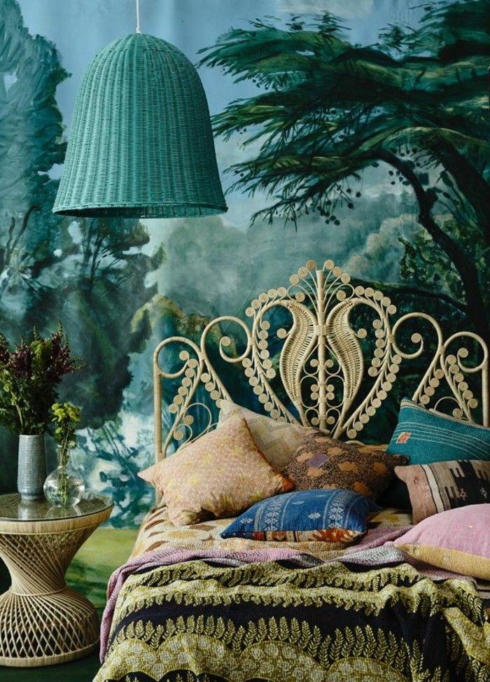 Wunderschönes Modell Schlafzimmer   Wandfarbe Grün   Türkis