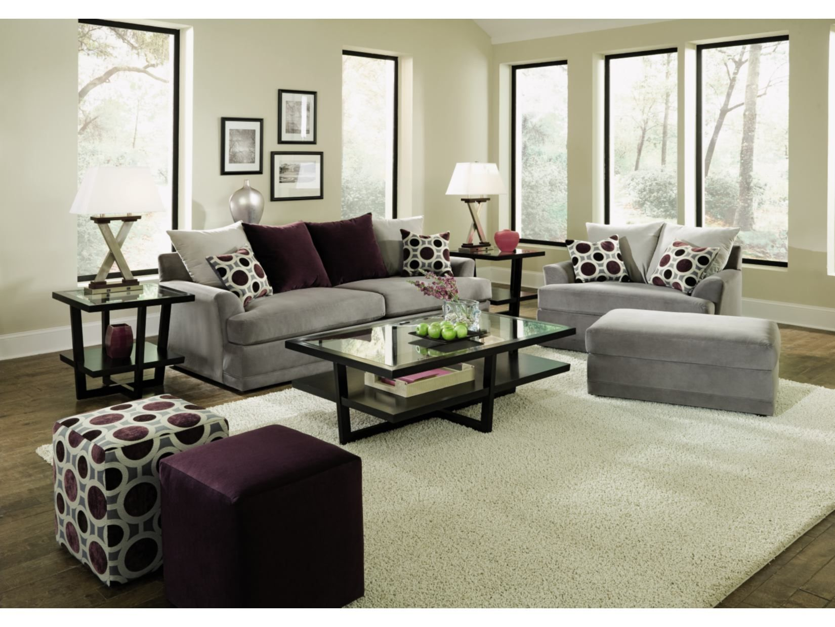 Radiance Pewter Sofa   Value City Furniture Grey Sofa And Love Seat Purple  Chair And A 1/2 And Ottoman