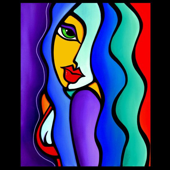 Abstract painting pop Art modern colorful purple blue yellow ...