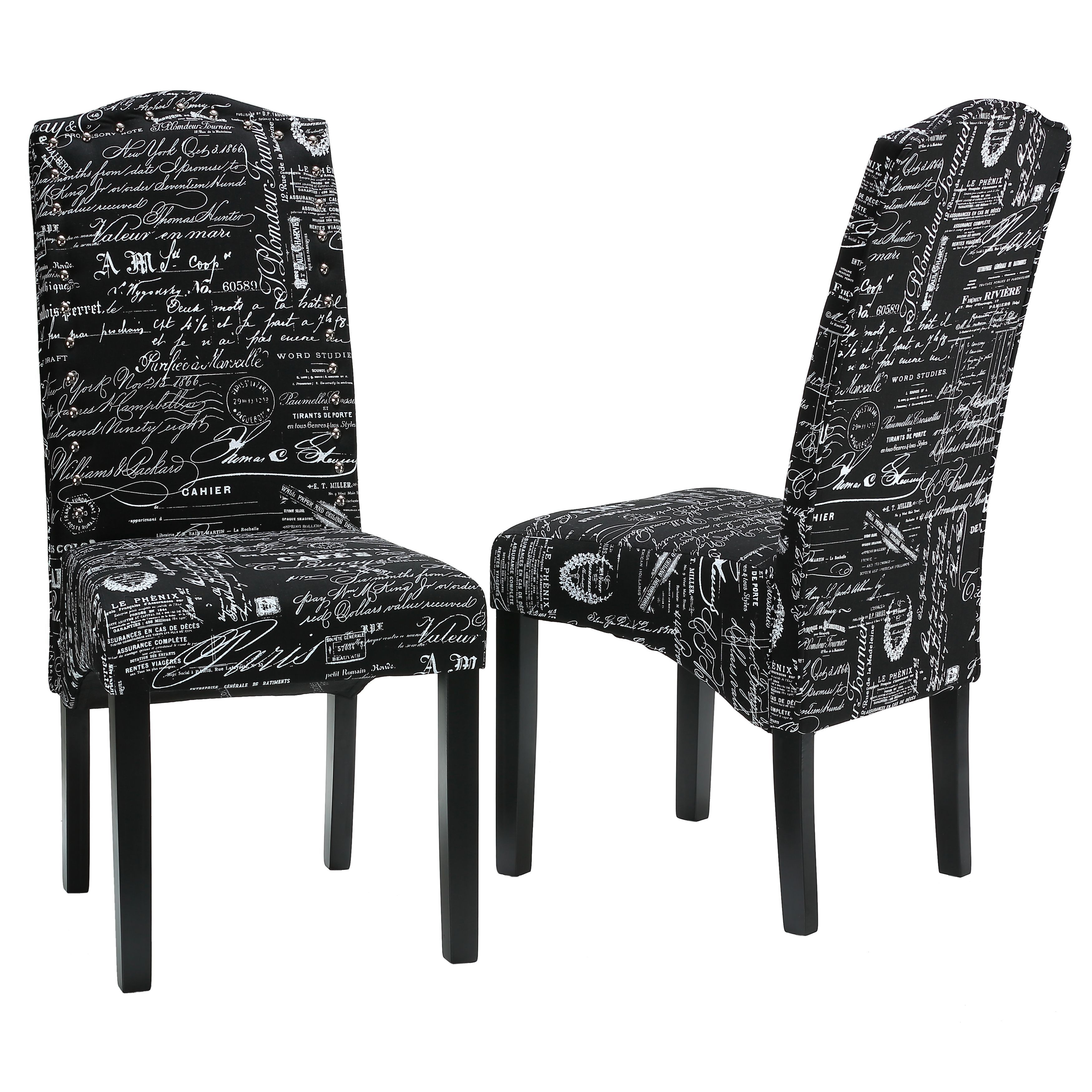 Cheap Black Dining Chairs: Cortesi Home Fletcher Dining Chair In Black Script Fabric