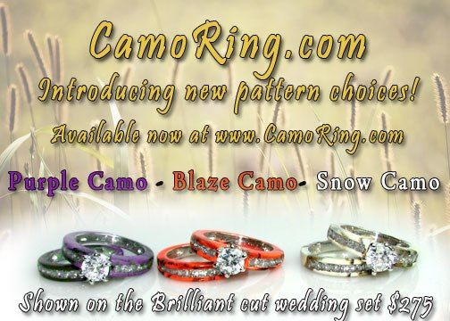 Hunter Orange Camo (Blaze Camo) Snow Camo Purple Camo Wedding Rings