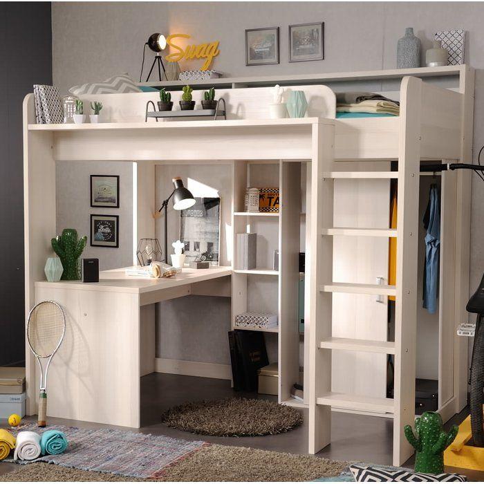 hochbett mit leiter schreibtisch kleiderschrank und. Black Bedroom Furniture Sets. Home Design Ideas