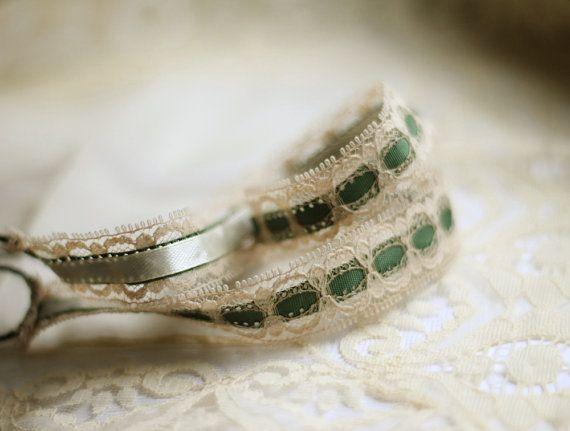 Vintage Lace Headband  Bridal Headband  Green & by LuciaStofej