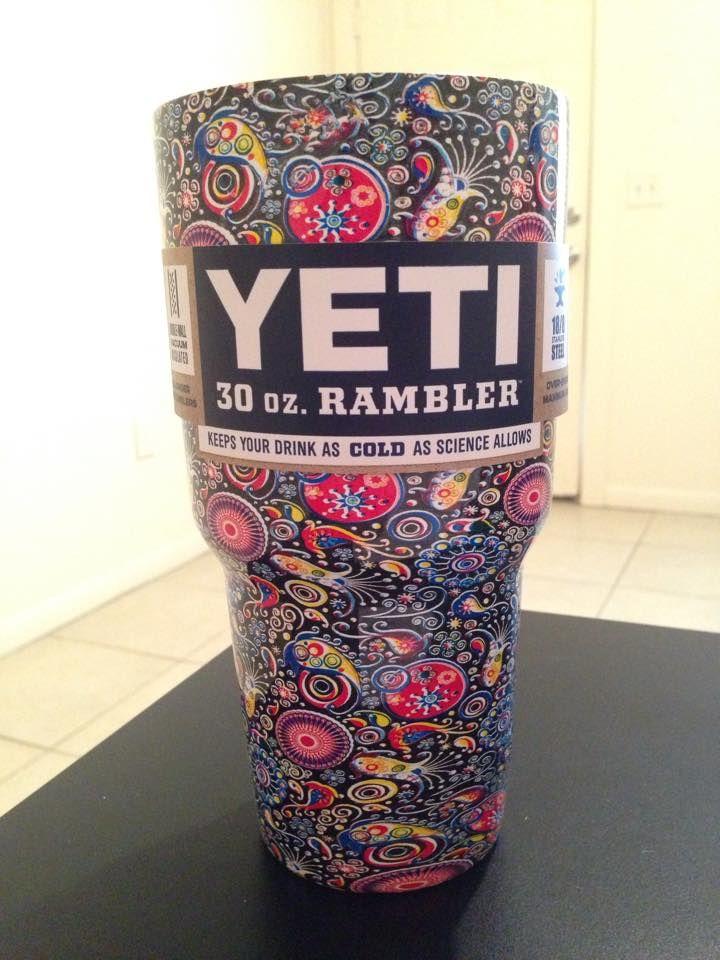 Yeti Rambler Dipped In Trippy Paisley Shipped LOVE LOVE LOVE - Sugar skull yeti cup