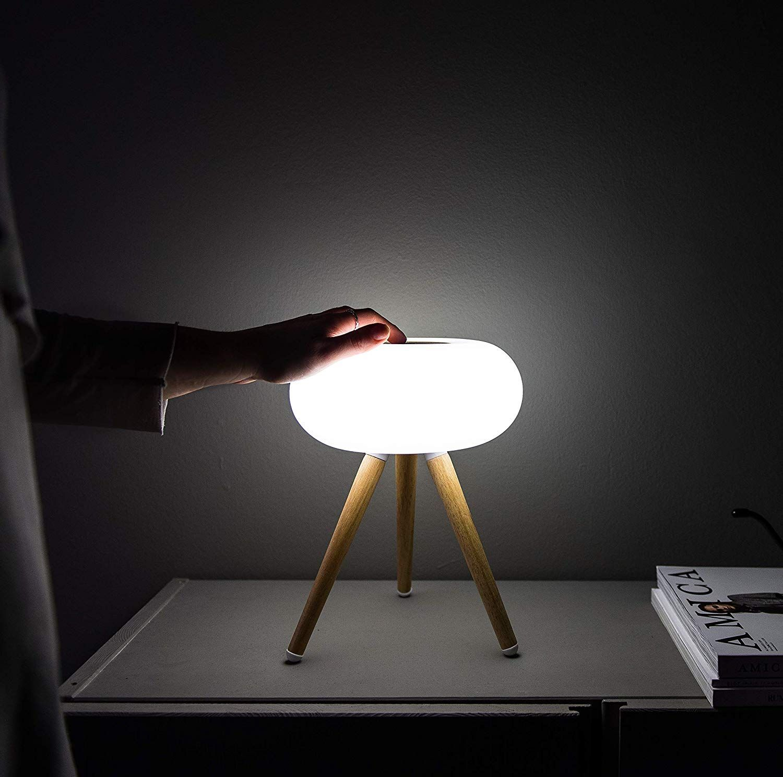 Modern Livin Table Lamp Nordic Style Touch Sensor Gesture Control Led Light For Bedrooms Living Room Bedside Port Wood Lamps Wood Desk Wood Office Desk