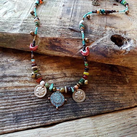 Items similar to Bohemian womens earthy clay, stone amd