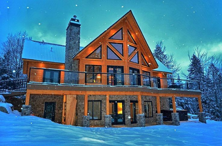 dream log cabin home in winter make mine rustic log cabin homes rh pinterest com