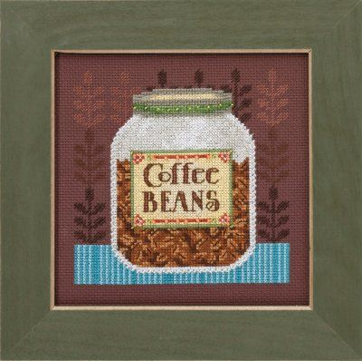 """DM301616 - Coffee Beans - Good Coffee & Friends- Kit Includes: Beads, Brandywine 16ct Aida, floss, needles, chart and instructions.  Mill Hill frame GBFRM12 sold separately Size: 4.75"""" w x 4.75"""" h"""