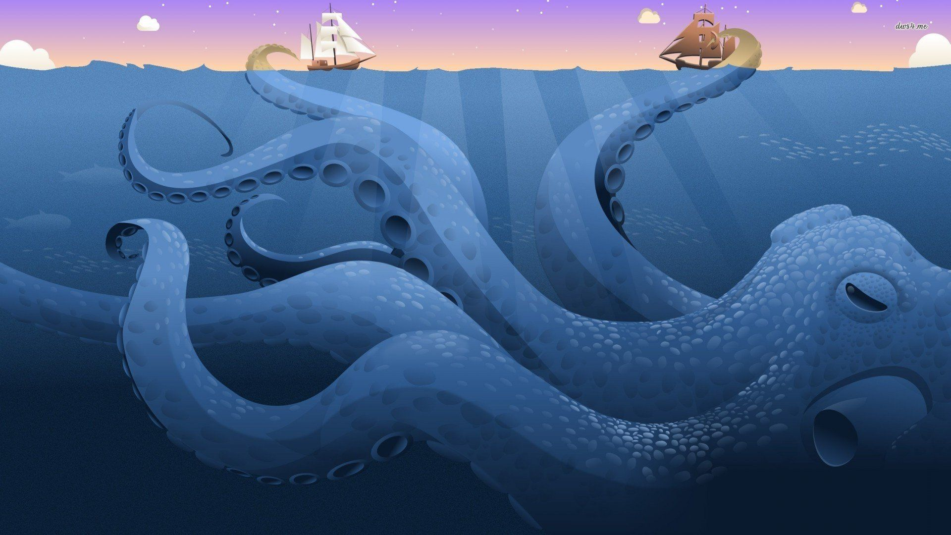 Giant Octopus Ing The Ships Digital Art Hd Desktop Wallpaper Ocean Ship No