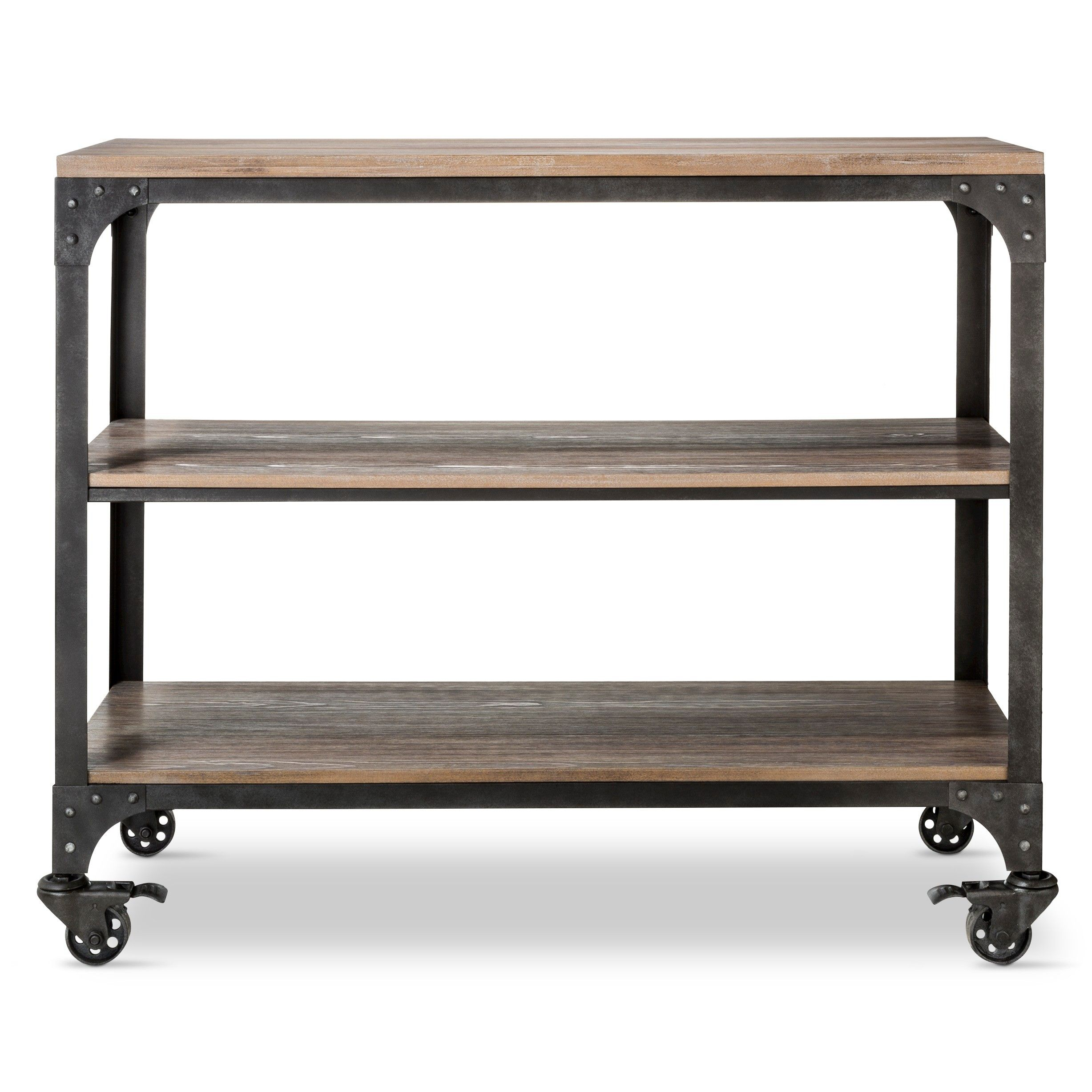 Bring a vintage vibe to your books with a Franklin 3-Shelf Horizontal Bookcase from The Industrial Shop. Designed to look like a vintage find, these bookshelves have a solid pine veneer that's been worn and weathered through a 9-step finishing and burning process to achieve a unique, distressed look. The end finish has a weathered gray look with undertones of a medium brown. The industrial bookcase also boasts a solid steel frame with exposed rivet details and 4 locking swivel casters.