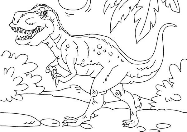 T Rex Is Very Strong Dinosaurus Coloring Page Color Luna In 2020 Earth Coloring Pages Coloring Pages Animal Coloring Pages