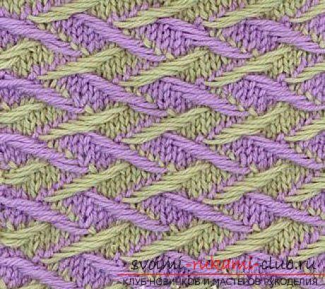 как освоить двухцветное вязание спицами ажурные двухцветные узоры